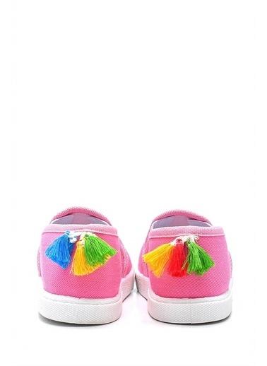 First Step Unicorn Nakışlı Çocuk Keten Babet Ayakkabı--F-492 Pembe